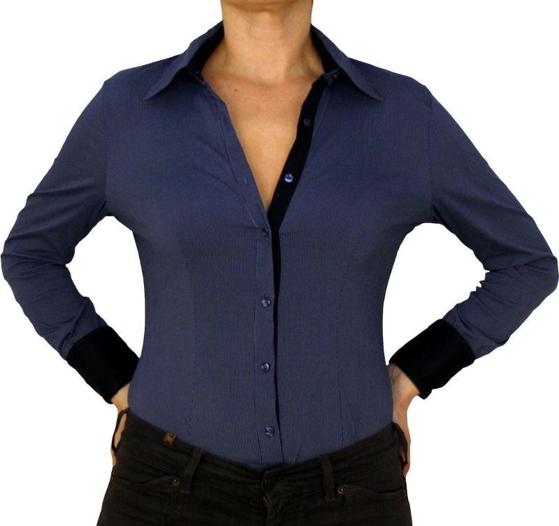 new concept 5e8d1 15669 Damen Bluse, Bodybluse, Blusenbody, langarm, einfarbig, gestreift, blau,  weiß, S, M, L, XL.