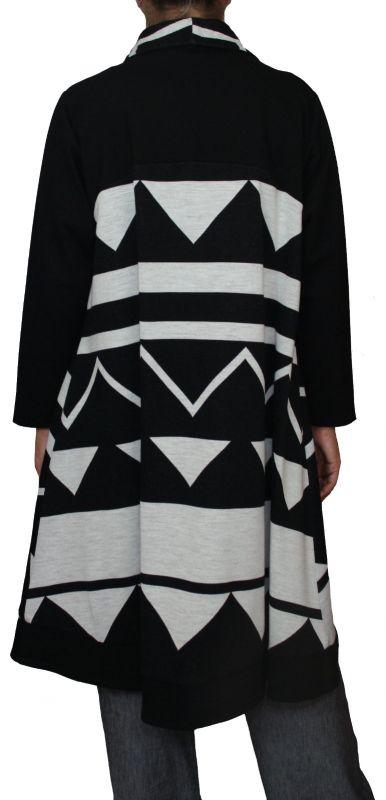 brand new 2fa81 9de1d Damen Mantel, Kurzmantel, A-Symmetrisch weit geschnitten, Muster  schwarz-weiß, große Größen, XL, XXL, XXXL.