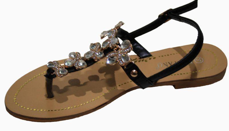 wholesale dealer 7b852 3e92c Damen Sandalen, Zehentrenner mit Straß, Flacher Absatz, pink, schwarz,  beige,made in Italy, neu! beige 38