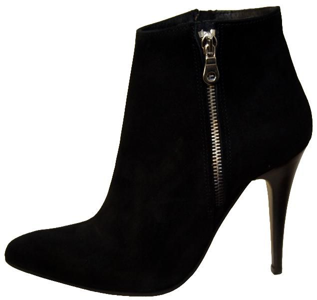 Damen Stiefeletten, hoher Absatz, Glatt Leder, schwarz, made in Italy, Schuhgröße 37 38 39 40.