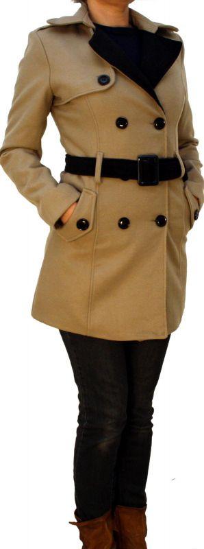 perano damen bergangs winterjacke mantel wolle schwarz beig. Black Bedroom Furniture Sets. Home Design Ideas