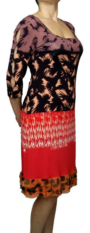 edd323fdc6a146 SAVE THE QUEEN Damen Kleid, 7/8 Ärmel, Volant, Armschlitz, L, XL