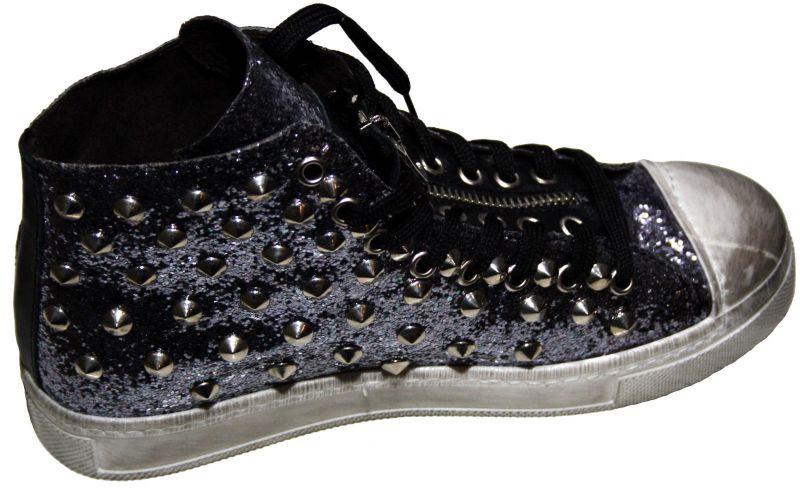 new style ef924 57569 Damen Sneakers High mit Nieten Leder Used Look schwarz silber 37 38 39 40  made in Italy neu!