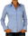 Damen Bluse, Langarm, Baumwolle, Elasthan, blau, weiß, tailliert, S, M, L, XL. himmel blau S