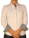 Damen Bluse, Langarm, Baumwolle, Elasthan, blau, weiß, tailliert, S, M, L, XL. weiss  S