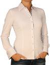 Damen Bluse, Langarm, Baumwolle, Elasthan, blau, weiß, tailliert, S, M, L, XL. weiss  M
