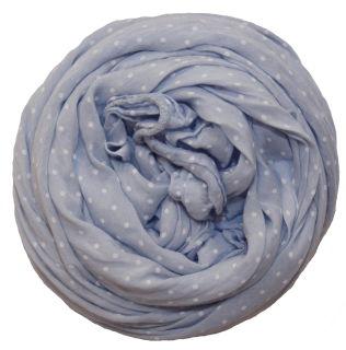 PERANO Damen Schal, Tuch, Stola, gepunktet, Baumwolle & Seide, 70X200, made in Italy, neu! hell blau