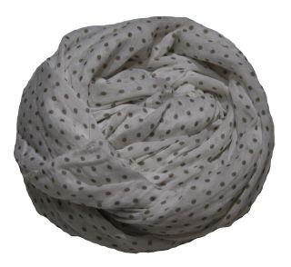 PERANO Damen Schal, Tuch, Stola, gepunktet, Baumwolle & Seide, 70X200, made in Italy, neu! weiß braun