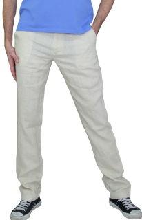 PERANO Herren, Jungen Slim Leinenhose, 100% Leinen, beige, braun, schwarz, weiss, Gr. M, L, XL, XXL, neu! beige L/52