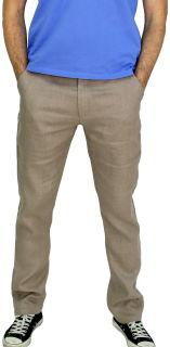 PERANO Herren, Jungen Slim Leinenhose, 100% Leinen, beige, braun, schwarz, weiss, Gr. M, L, XL, XXL, neu! hell braun XXL/56