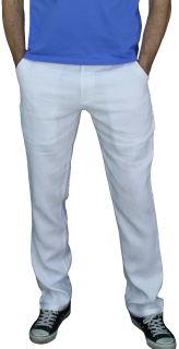 PERANO Herren, Jungen Slim Leinenhose, 100% Leinen, beige, braun, schwarz, weiss, Gr. M, L, XL, XXL, neu! weiss XL/54