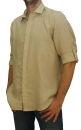 PERANO Herren Jungen Hemd, 100% Leinen Freizeithemd, M, L, XL, XXL, XXXL. beige XL