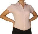 Damen Bluse, Bodybluse, Blusenbody, Kurzarm, einfarbig, pink, hellblau, weiß, schwarz. pink S