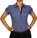 Damen Bluse, Bodybluse, Blusenbody, Kurzarm, einfarbig, gestreift, pink, blau, weiß, hellblau. blau L