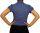 Damen Bluse, Bodybluse, Blusenbody, Kurzarm, einfarbig, gestreift, pink, blau, weiß, hellblau. blau XL