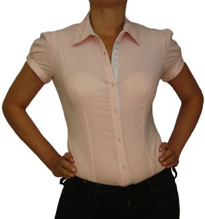 Damen Bluse, Bodybluse, Blusenbody, Kurzarm, einfarbig, gestreift, pink, blau, weiß, hellblau. pink M