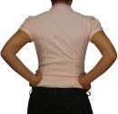 Damen Bluse, Bodybluse, Blusenbody, Kurzarm, einfarbig, gestreift, pink, blau, weiß, hellblau. pink S