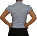 Damen Bluse, Bodybluse, Blusenbody, Kurzarm, einfarbig, gestreift, pink, blau, weiß, hellblau. hell blau XL