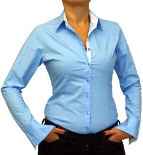 Damen Bluse, Bodybluse, Blusenbody, Baumwolle, langarm, einfarbig, schwarz, blau, weiß, rot, S, M, L, XL, XXL. hellblau 36/S