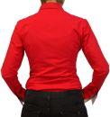 Damen Bluse, Bodybluse, Blusenbody, Baumwolle, langarm, einfarbig, schwarz, blau, weiß, rot, S, M, L, XL, XXL. rot 42/XL