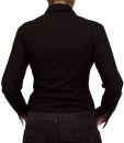 Damen Bluse, Bodybluse, Blusenbody, Baumwolle, langarm, einfarbig, schwarz, blau, weiß, rot, S, M, L, XL, XXL. schwarz 36/S