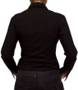 Damen Bluse, Bodybluse, Blusenbody, Baumwolle, langarm, einfarbig, schwarz, blau, weiß, rot, S, M, L, XL, XXL. schwarz 40/L