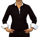 Damen Bluse, Bodybluse, Blusenbody, Baumwolle, langarm, einfarbig, schwarz, blau, weiß, rot, S, M, L, XL, XXL. schwarz 42/XL