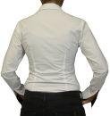 Damen Bluse, Bodybluse, Blusenbody, Baumwolle, langarm, einfarbig, schwarz, blau, weiß, rot, S, M, L, XL, XXL. weiss 36/S