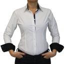 Damen Bluse, Bodybluse, Blusenbody, Baumwolle, langarm, einfarbig, schwarz, blau, weiß, rot, S, M, L, XL, XXL. weiss 40/L