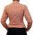 Damen Bluse, Bodybluse, Blusenbody, Baumwolle, langarm, kariert, schwarz, blau, orange, rot, S, M, L, XL, XXL. orange 38/M