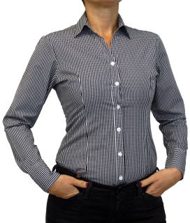 Damen Bluse, Bodybluse, Blusenbody, Baumwolle, langarm, kariert, schwarz, blau, orange, rot, S, M, L, XL, XXL. schwarz 40/L