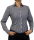 Damen Bluse, Bodybluse, Blusenbody, Baumwolle, langarm, kariert, schwarz, blau, orange, rot, S, M, L, XL, XXL. schwarz 44/XXL