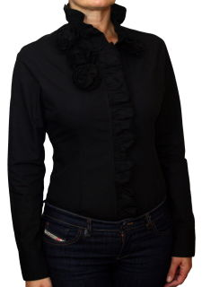 Damen Body Bluse, Blusenbody, Rüschen, langarm. schwarz XXL