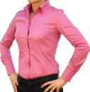9222 PERANO Damen Body Bluse Blusenbody Baumwolle Langarm weiß schwarz pink rot braun blau neu