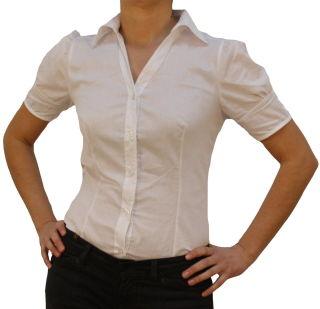 Damen Bodys Bodybluse, Blusenbody, kurzarm, weiß, schwarz, pink, rot, neu! weiß S