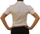 Damen Bodys Bodybluse, Blusenbody, kurzarm, weiß, schwarz, pink, rot, neu! weiß M