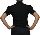 Damen Bodys Bodybluse, Blusenbody, kurzarm, weiß, schwarz, pink, rot, neu! schwarz L