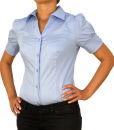 Damen Bodys Bodybluse, Blusenbody, kurzarm, weiß, schwarz, pink, rot, neu! hellblau L