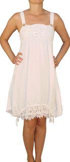 SAXX Damenkleid, 100% Leinen, Weiß L