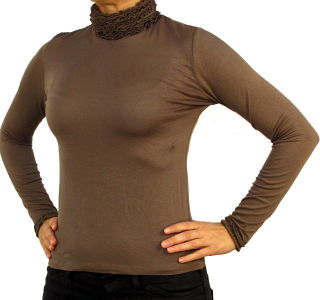 PERANO Damen Bluse, Shirt, langarm, Viskose, weiß, schwarz, blau, rot, braun, grün, grau, bordo, beige, neu. Kaffeebraun