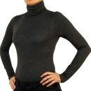 Damen Body Bluse, Bodyshirt, langarm, Rollkragen, grün, weiß, dunkelbraun, grau, rot, neu. grau L