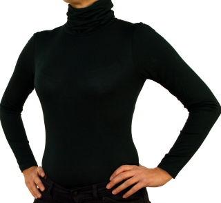 Damen Body Bluse, Bodyshirt, langarm, Rollkragen, grün, weiß, dunkelbraun, grau, rot, neu. grün L