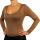 PERANO Bodybluse, Bodyshirt, langarm, Rundhalskragen, grün, beige, braun, grau, blau, neu. beige XL