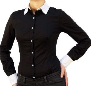 C&H Bodybluse, Blusenbody, langarm, schwarz/ weiß, weiß/schwarz, beige, S, M, L, XL, XXL, neu! schwarz/weiß S