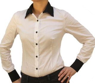 C&H Bodybluse, Blusenbody, langarm, schwarz/ weiß, weiß/schwarz, beige, S, M, L, XL, XXL, neu! weiß/schwarz M