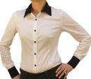 C&H Bodybluse, Blusenbody, langarm, schwarz/ weiß, weiß/schwarz, beige, S, M, L, XL, XXL, neu! weiß/schwarz XL
