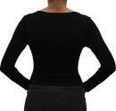 PERANO Bodybluse, Bodyshirt, langarm, U-Ausschnitt, rot, schwarz, weiss, neu.