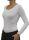 PERANO Bodybluse, Bodyshirt, langarm, U-Ausschnitt, rot, schwarz, weiss, neu. weiss XL