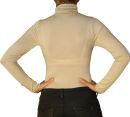 Damen Body Bluse, Bodyshirt, langarm, Rollkragen, Viskose, beige, schwarz, neu. beige M