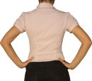 Damen Bluse, Bodybluse, Blusenbody, Kurzarm, einfarbig, pink, blau, weiß, S, M, L, XL.